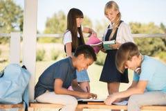 Adolescentes multiétnicos que estudian junto Imagen de archivo