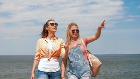 Adolescentes o amigos que caminan en la playa almacen de metraje de vídeo