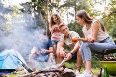 Adolescentes que acampan, cocinando la carne en hoguera Imagen de archivo libre de regalías