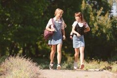 Adolescentes que caminan en parque Fotos de archivo