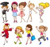 Adolescentes que contratam em atividades diferentes Foto de Stock
