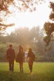 Adolescentes que cuelgan hacia fuera en el parque Foto de archivo