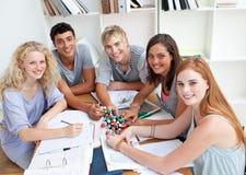 Adolescentes que estudam a ciência em uma biblioteca Foto de Stock Royalty Free