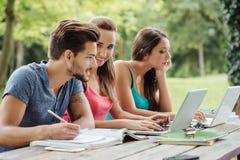 Adolescentes que estudian al aire libre Fotografía de archivo libre de regalías