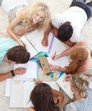Adolescentes que fazem trabalhos de casa junto Imagem de Stock Royalty Free
