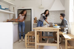 Adolescentes que hacen el almuerzo y que estudian junto en una cocina Fotografía de archivo