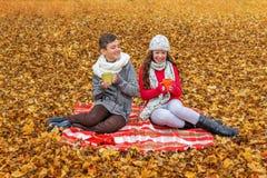 Adolescentes que ríen al ligón en alta voz que habla en una comida campestre en la tela escocesa en el parque Fotografía de archivo libre de regalías