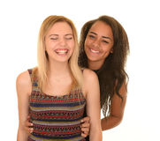 Adolescentes que ríen nerviosamente Imagen de archivo libre de regalías