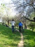 Adolescentes que se divierten en naturaleza, en día de primavera hermoso Foto de archivo
