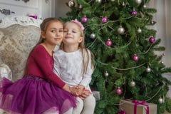 Adolescentes que têm o divertimento sob a árvore de Natal com presentes fotografia de stock royalty free