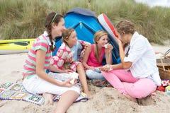 Adolescentes que tienen comida campestre Fotografía de archivo libre de regalías