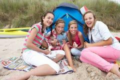 Adolescentes que tienen comida campestre Imagen de archivo