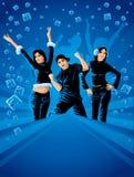 Adolescenti che ballano sul partito di inverno Fotografie Stock