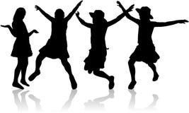 Adolescenti della siluetta Immagine Stock Libera da Diritti