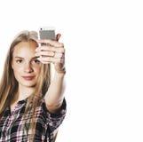 Adolescenti svegli che fanno selfie isolato Immagine Stock Libera da Diritti