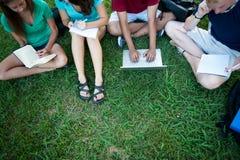 Adolescents étudiant à l'extérieur Photos stock