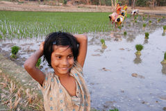 Adolescents Girl in rural India. February 12, 2011.West Bengal,India,Asia-A smiling girl at the agricultural land in a remote village of West Bengal Stock Image