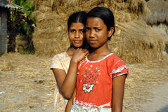 Adolescents Girl in rural India. February 12, 2011.West Bengal,India,Asia-Two adolescent girls in a remote village of West Bengal Royalty Free Stock Images