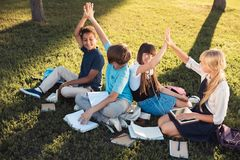 Adolescents multi-ethniques étudiant en parc Photo stock