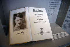 Adolf Hitler. OCTOBER 2010 - OBERSALZBERG: the book Mein Kampf (My Fight) by German Nazi dicator Adolf Hitler, exhibit in the documentary center on Nazi-Germany Stock Images