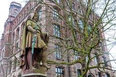 Adolf III obliczenie Schauenburg i Holstein statua w Hamburg obrazy stock