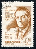 Adolfo Lopez Mateos of Mexico. BRAZIL - CIRCA 1960: stamp printed by Brazil, shows Adolfo Lopez Mateos of Mexico, circa 1960 stock photos