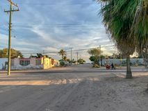 Adolfo Lopez Mateos small Mexican village view. Adolfo Lopez Mateos small Mexican village in Baja California Sur Mexico royalty free stock photography