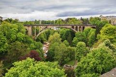 Adolphe Bridge en Luxemburgo Fotos de archivo libres de regalías