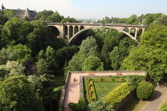 Adolphe bridge in Luxembourg. The Adolphe bridge over the gorge of the Petrusse in Luxembourg City Royalty Free Stock Photography