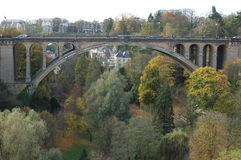 Adolphe Bridge in Luxembourg. An arch bridge in Luxembourg City, in southern Luxembourg. Adolphe Bridge has become an unofficial national symbol of sorts Stock Photos