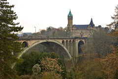 Adolphe Bridge in Petrusse Valley. Luxembourg city. Luxembourg.  Royalty Free Stock Images