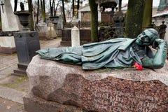 Adolphe Mahir雕刻的墓碑  免版税库存图片