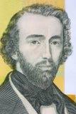 Adolphe Sax stående från belgiska pengar arkivbild