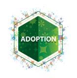 Adopcji rośliien wzoru zieleni sześciokąta kwiecisty guzik zdjęcia royalty free