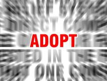 Adopt. Blurred text with focus on royalty free illustration