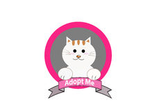 Adopt a cat concept. Cat with adopt me message vector Stock Photos