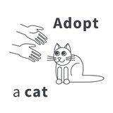 Adopt a cat line icon. Hands stretched to the cat. Do not shop, adopt. Cat adoption concept. Vector line icon isolated on white background Stock Photo