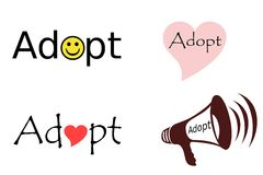 Adopt Collage. Four illustrations with the word 'adopt royalty free illustration