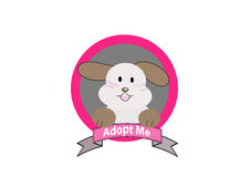 Adopt dog concept. Dog with adopt me message vector Royalty Free Stock Photography