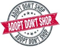 Adopt don`t shop red round grunge ribbon stamp. Adopt don`t shop red round grunge vintage ribbon stamp Stock Photo