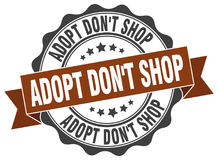 Adopt don`t shop stamp. Sign. seal Stock Photo