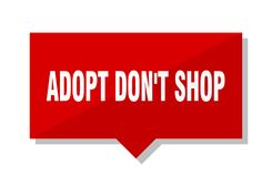 Adopt mettent l'étiquette de rouge de boutique du ` t Image stock