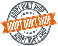 Adopt mettent le timbre d'isolement par orange ronde de boutique du ` t Illustration Stock