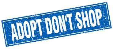 Adopt mettent le timbre grunge carré bleu de boutique du ` t Illustration Libre de Droits