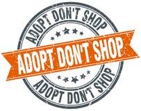 Adopt pone el sello aislado naranja redonda de la tienda del ` t Stock de ilustración