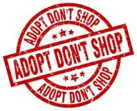 Adopt pone el sello rojo redondo del grunge de la tienda del ` t Stock de ilustración