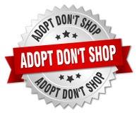 Adopt pone la insignia de la plata de la tienda del ` t con la cinta roja Stock de ilustración
