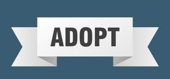 Adopt ribbon. Adopt banner. sign. adopt stock illustration