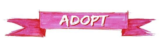 Adopt ribbon. Adopt hand painted ribbon sign vector illustration