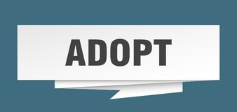 Adopt. Sign.  paper origami speech bubble.  tag.  banner stock illustration
